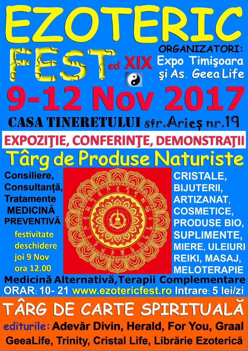 EzotericFest Timisoara 9 -12 Nov 2017 Casa Tineretului – Conferinte Expozitie