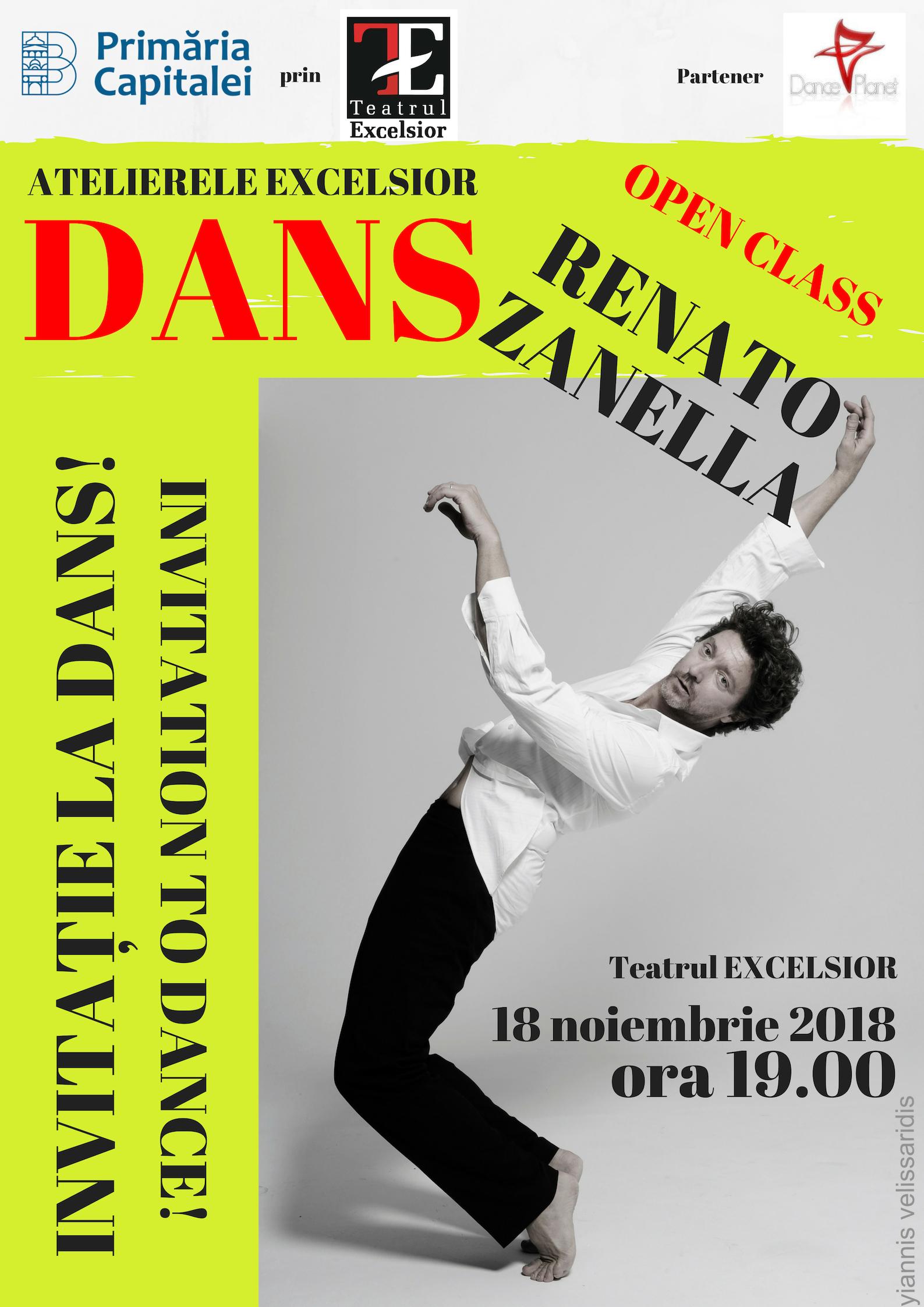INVITAȚIE LA DANS / INVITATION TO DANCE: open class cu Renato Zanella, la Teatrul EXCELSIOR