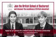 Alătură-te British School of Bucharest pentru a face performanță!  Mai ai timp până pe 23 ianuarie să aplici la programul de burse, de până la 100% din taxa de școlarizare!