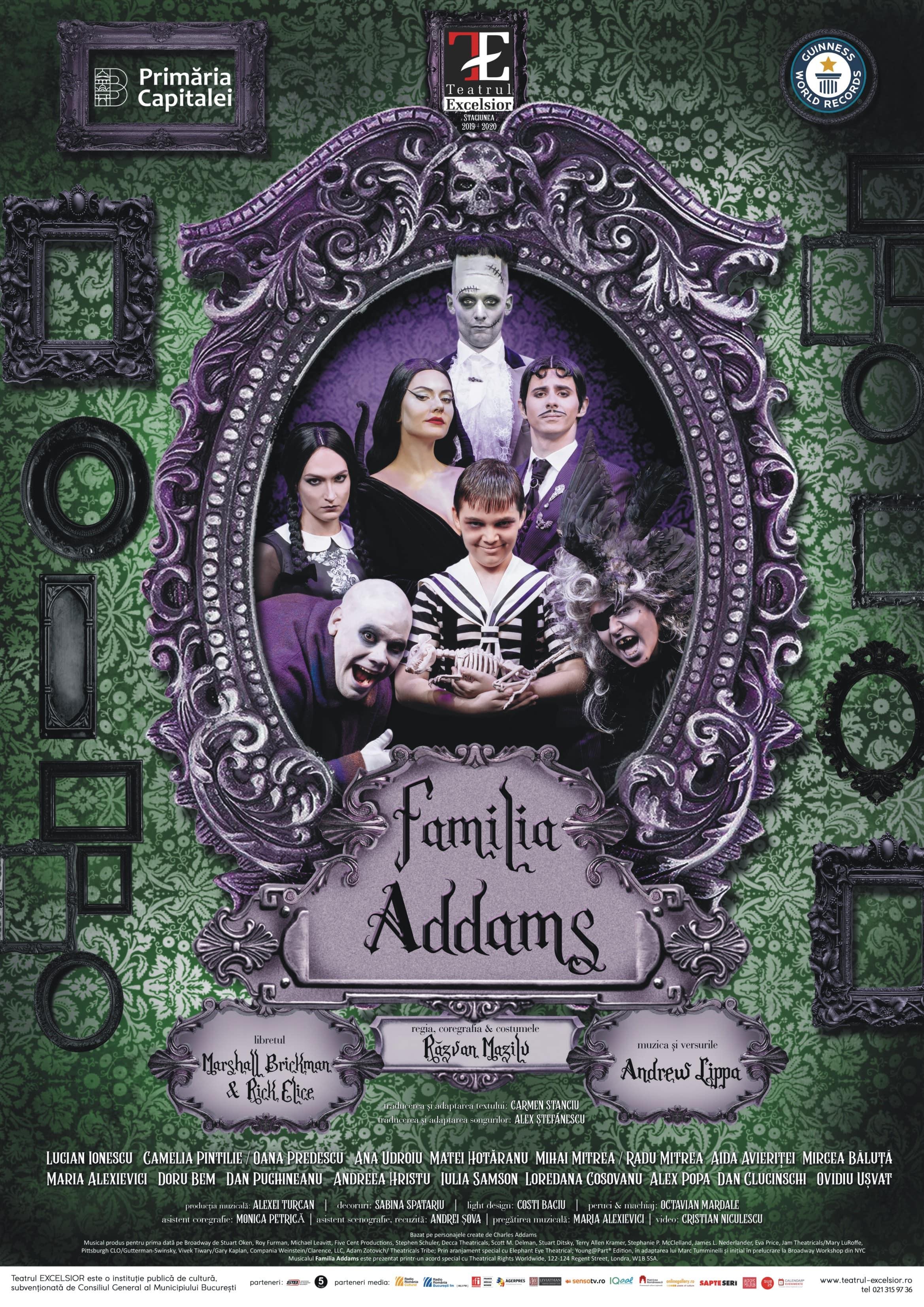 Spectacolul de musical FAMILIA ADDAMS ajunge la Pitești, pe 1 noiembrie