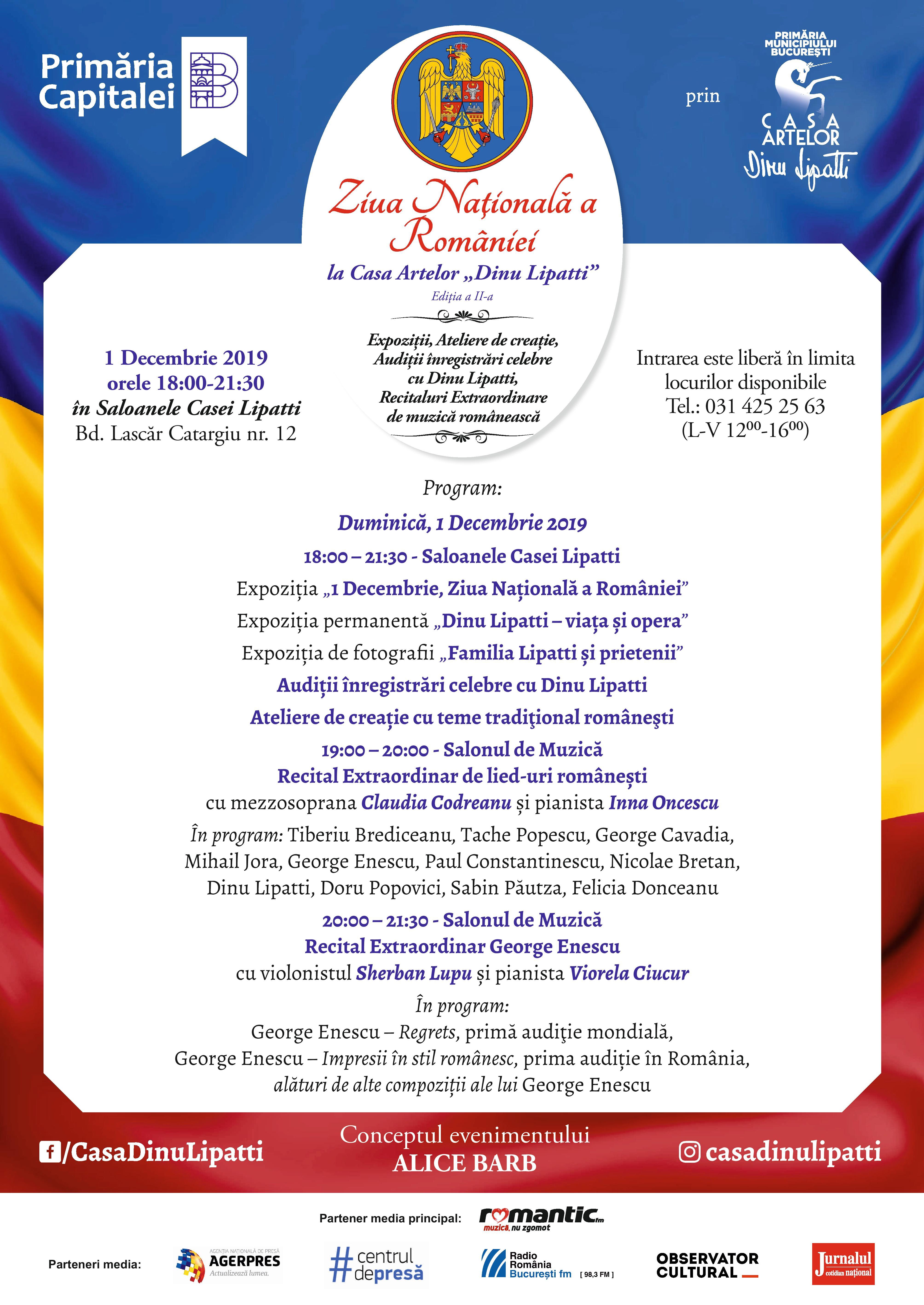 """De Ziua Națională a României, creații de George Enescu interpretate în premieră absolută la Casa Artelor """"Dinu Lipatti"""""""