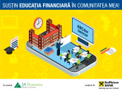 """Cursuri de educație financiară și sprijin financiar pentru echipamente oferite liceelor prin programul """"Susțin educația financiară în comunitatea mea"""", derulat de JA România și Raiffeisen Bank"""