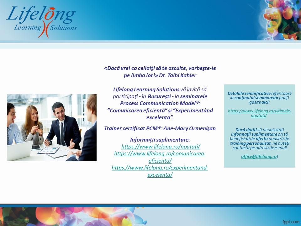 """Seminar Process Communication Model®: """"Comunicarea eficientă"""""""
